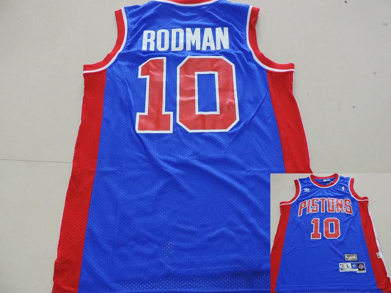 Pistons 10 Rodman Blue Hardwood Classics Jerseys