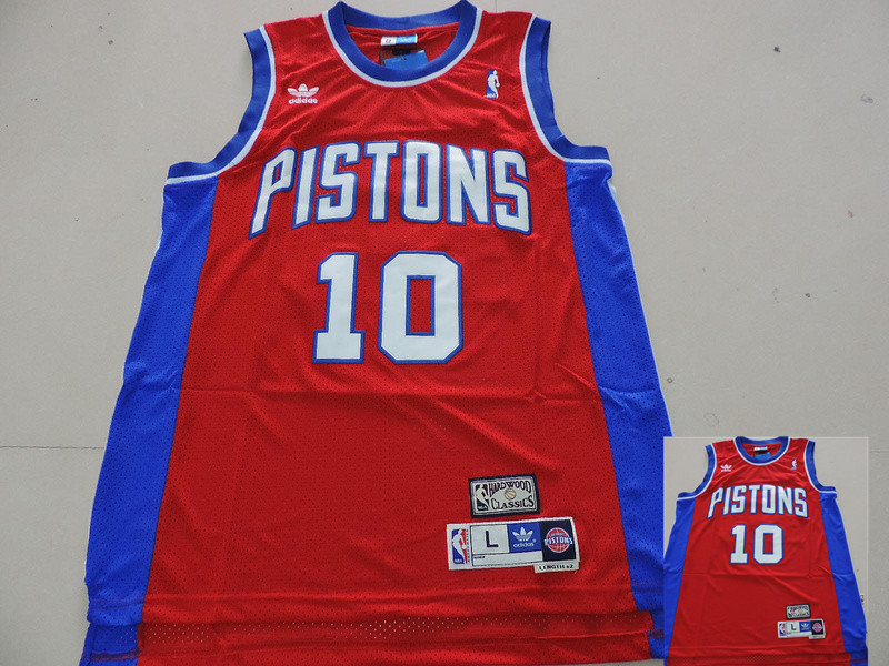 Pistons 10 Rodman Red Hardwood Classics Jerseys