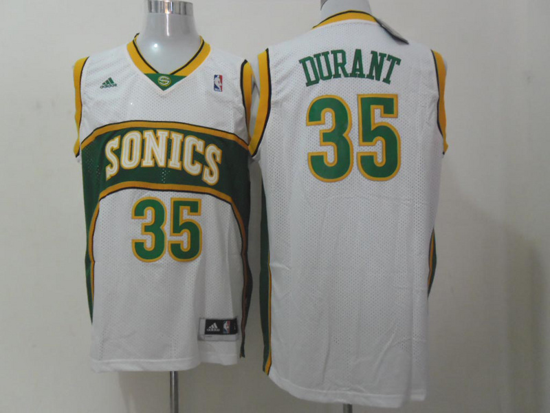 Sonics 35 Durant White Throwback Jerseys