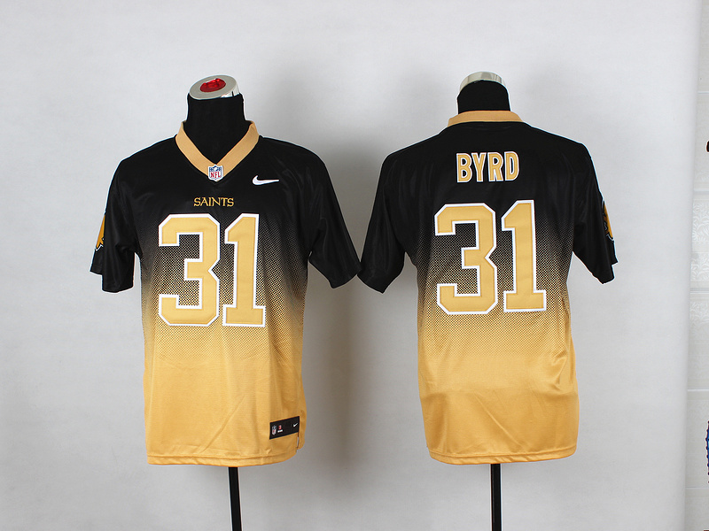 Nike Saints 31 Byrd Black And Gold Drift II Elite Jerseys