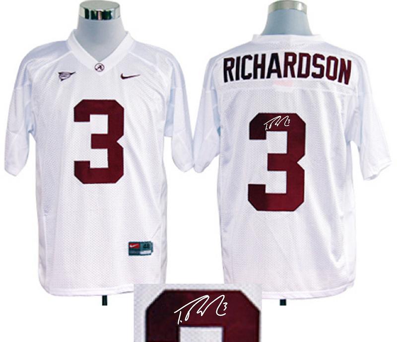 Alabama Crimson Tide 3 Richardson White Signature Edition Jerseys