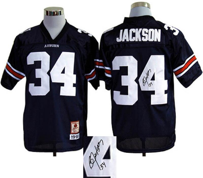 Auburn Tigers 34 Jackson Blue Signature Edition Jerseys