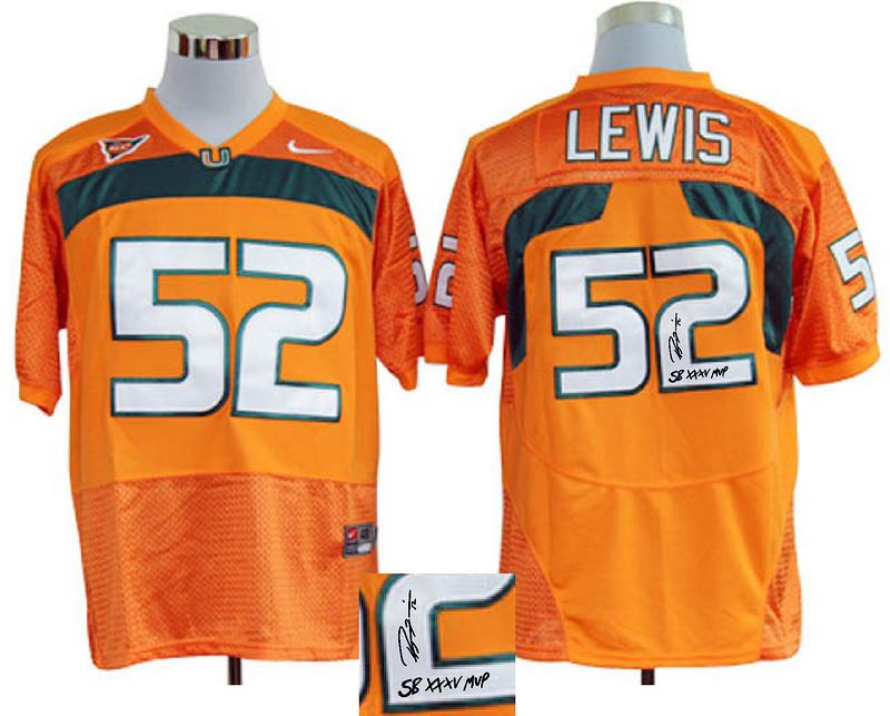 Miami Hurricanes 52 Lewis Orange Signature Edition Jerseys