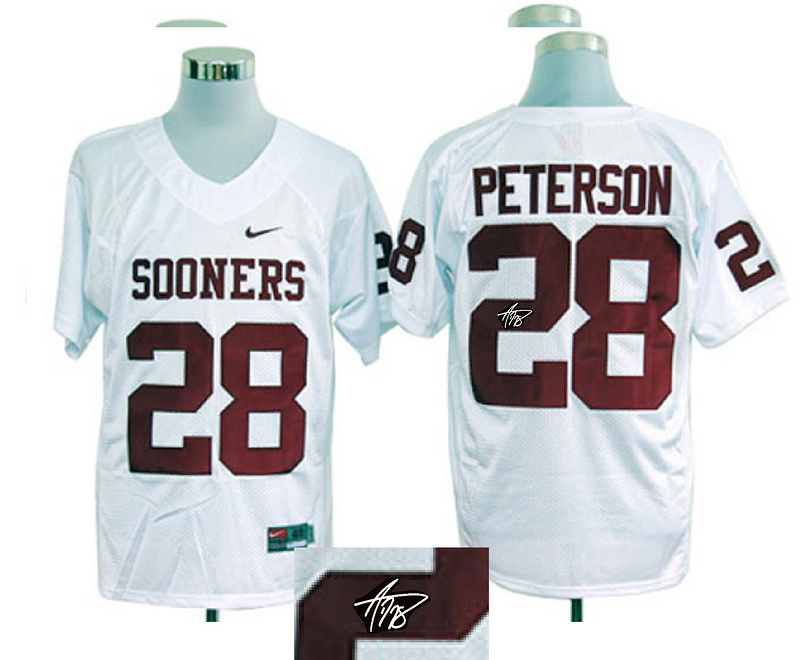 Oklahoma Sooners 28 Peterson White Signature Edition Jerseys