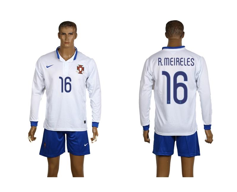 Portugal 16 R.Meireles 2014 World Cup Away Long Sleeve Jerseys
