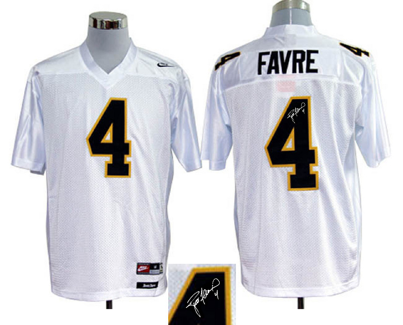 Southern Mississippi Golden Eagles 4 Favre White Signature Edition Jerseys