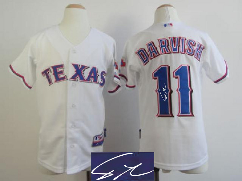Rangers 11 Darvish White Signature Edition Youth Jerseys
