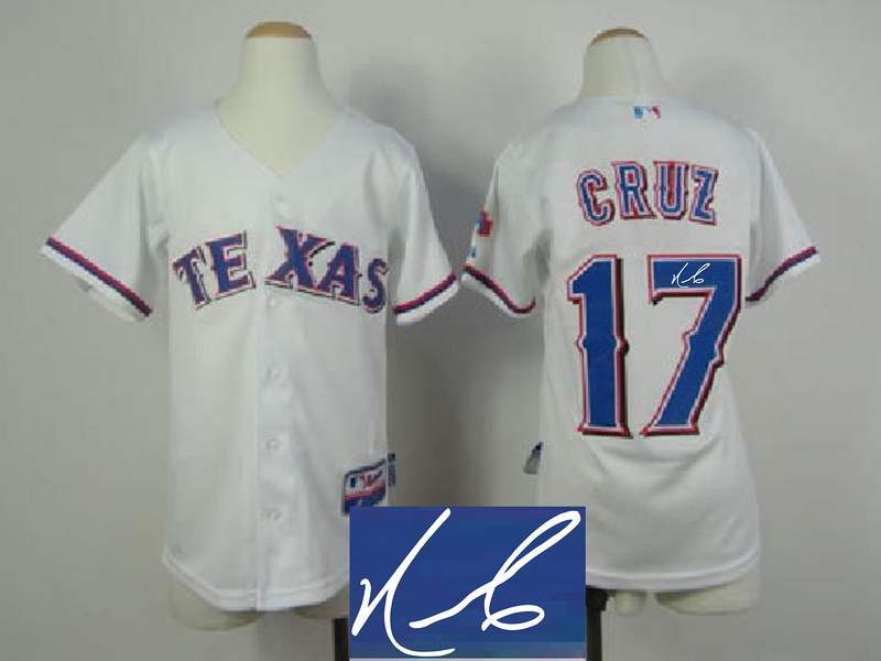 Rangers 17 Cruz White Signature Edition Youth Jerseys