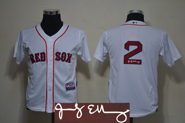 Red Sox 2 Ellsbury White Signature Edition Youth Jerseys