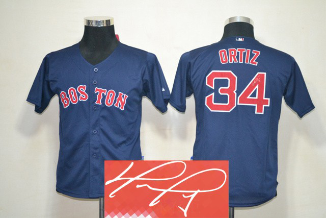 Red Sox 34 Ortiz Blue Signature Edition Youth Jerseys