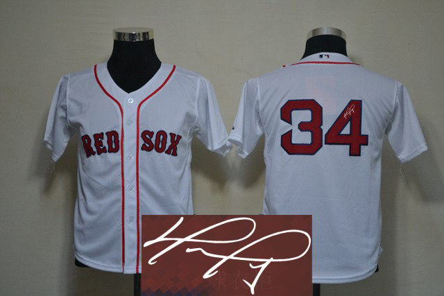 Red Sox 34 Ortiz White Signature Edition Youth Jerseys