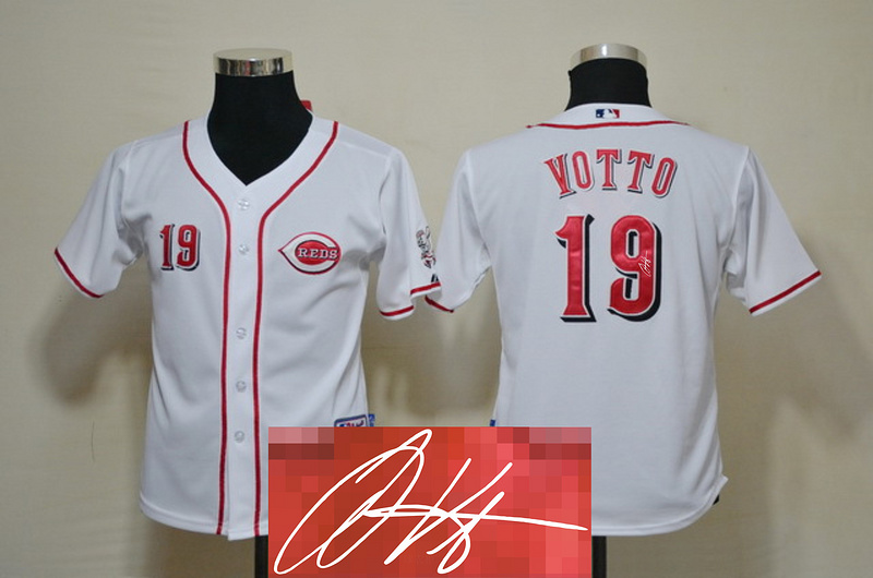 Reds 19 Votto White Signature Edition Youth Jerseys
