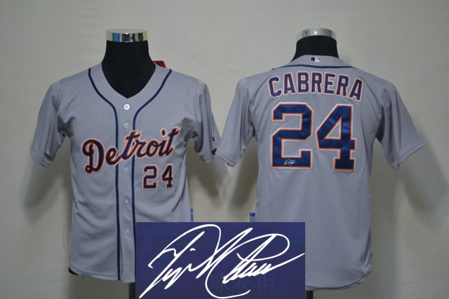 Tigers 24 Cabrera Grey Signature Edition Youth Jerseys