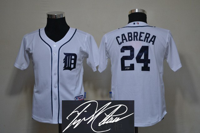 Tigers 24 Cabrera White Signature Edition Youth Jerseys