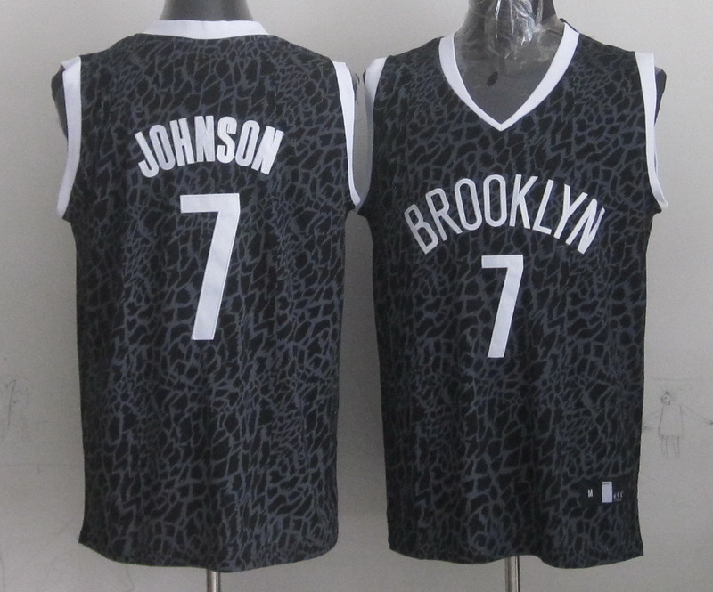 Nets 7 Johnson Black Crazy Light Swingman Jerseys