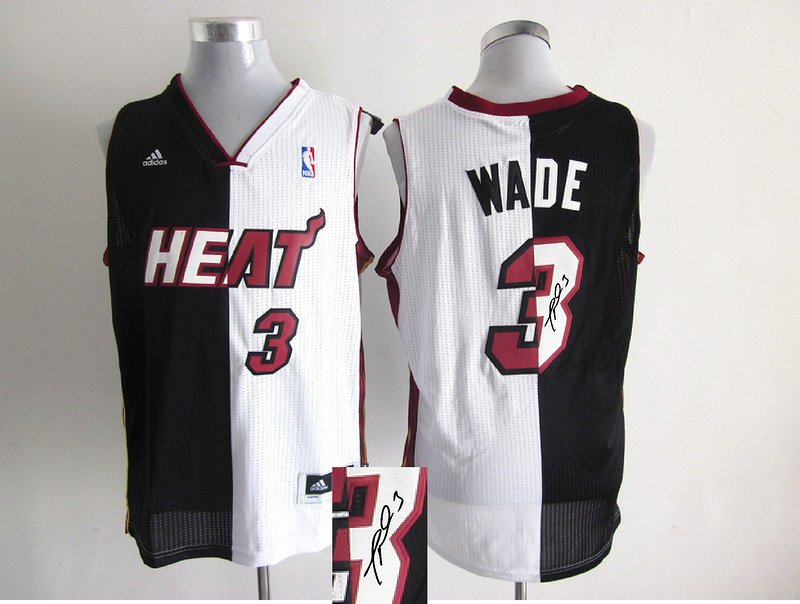 Heat 3 Wade White & Black Split Signature Edition Jerseys