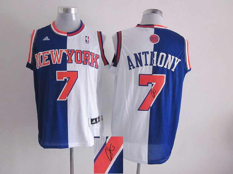 Knicks 7 Anthony Blue & White Split Signature Edition Jerseys