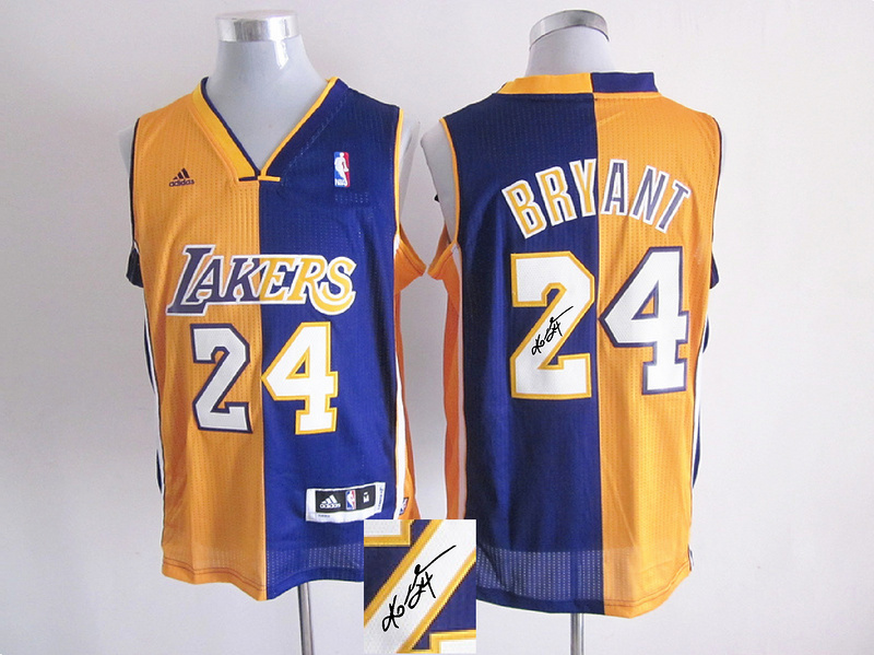 Lakers 24 Bryant Purple & Yellow Split Signature Edition Jerseys