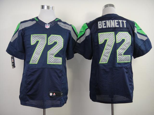 Nike Seahawks 72 Bennett Blue Elite Jerseys