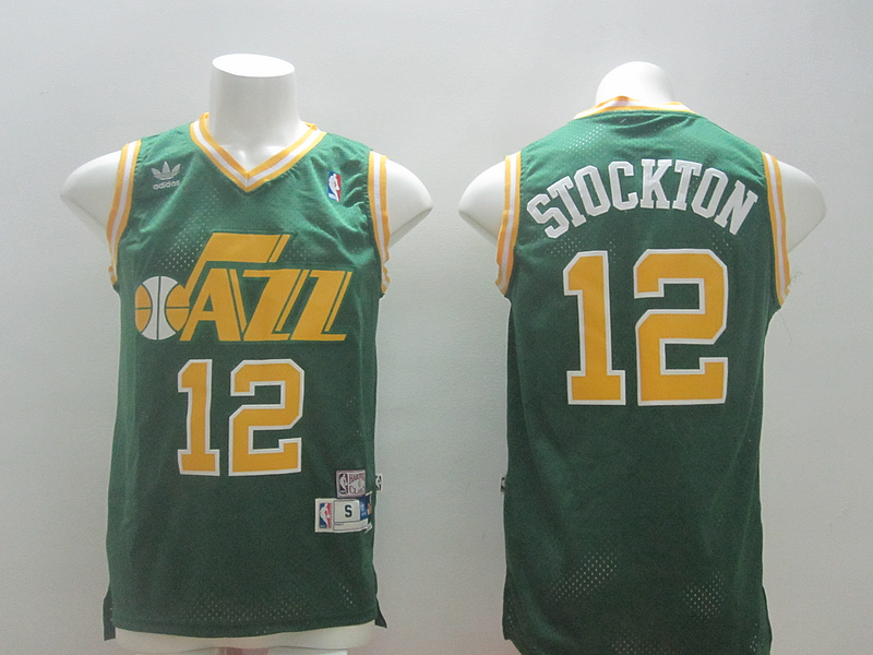 Jazz 12 Stockton Green New Revolution 30 Jerseys