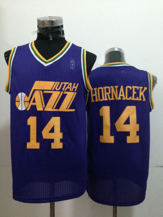 Jazz 14 Hornacek Purple Jerseys