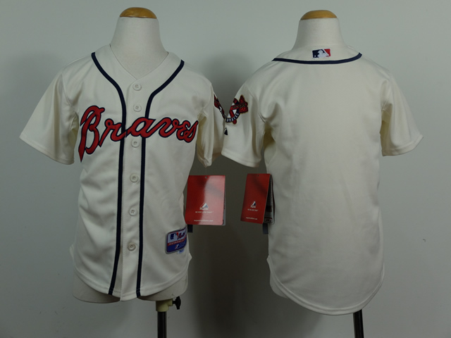 Braves Blank Cream Youth Jersey