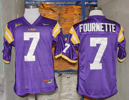 LSU Tigers 7 Fournette Purple College Jerseys