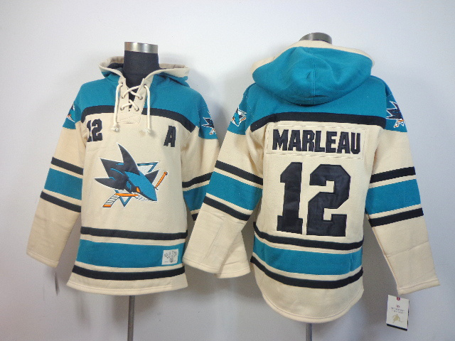 NHL Sharks 12 Marleau Cream Hoodies